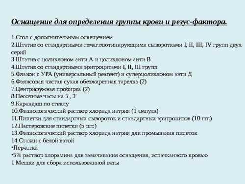 Составить набор для определения групп крови и резус фактора