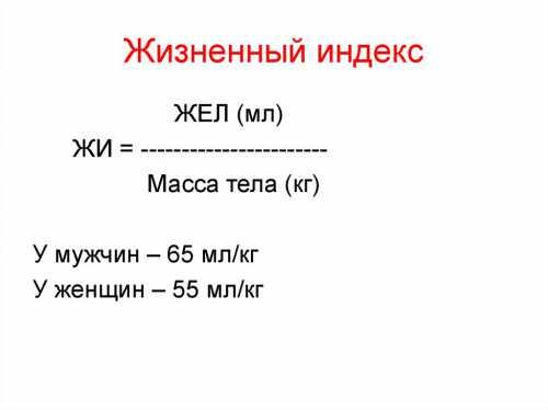 Жизненный индекс формула